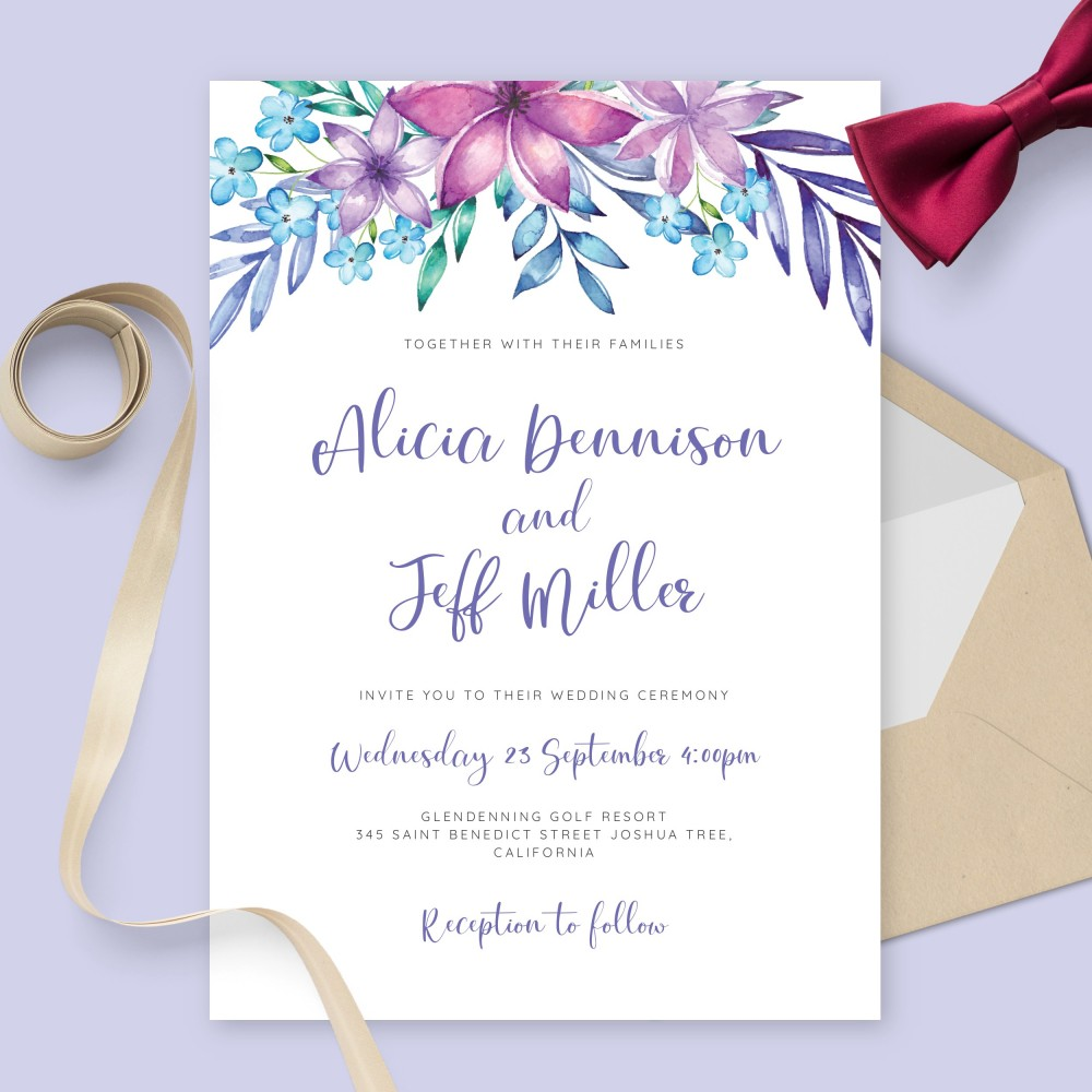 Customize and Download Elegant Watercolor Blue and Purple Flowers Wedding Invitation