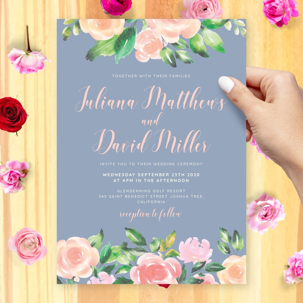 Customize and Download Elegant Watercolor Flowers Blush Blue Wedding Invitation