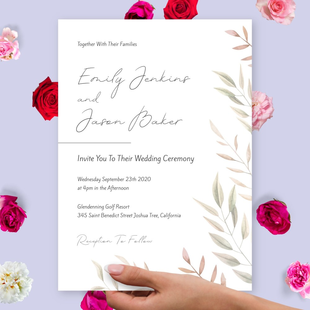 Customize and Download Elegant Willow Fall Wedding Invitation