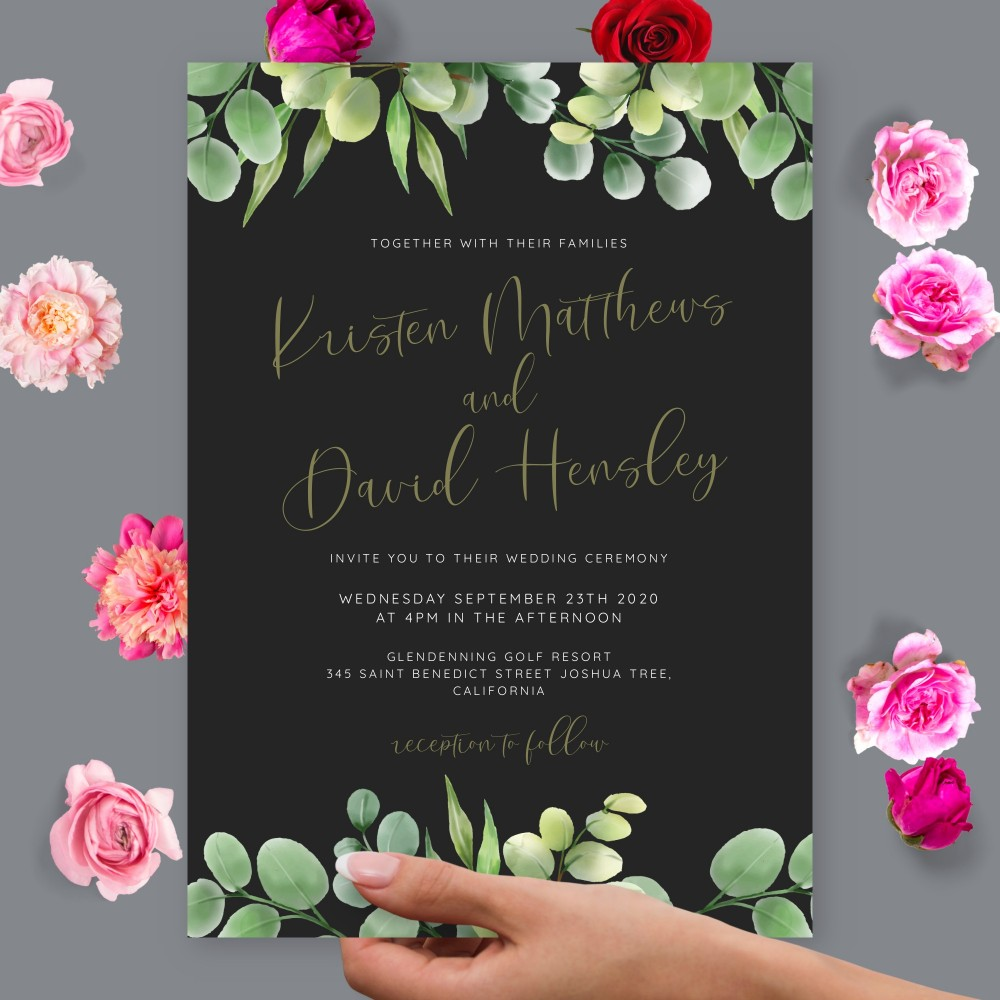 Customize and Download Eucalyptus Leaves Black Background Wedding Invitation