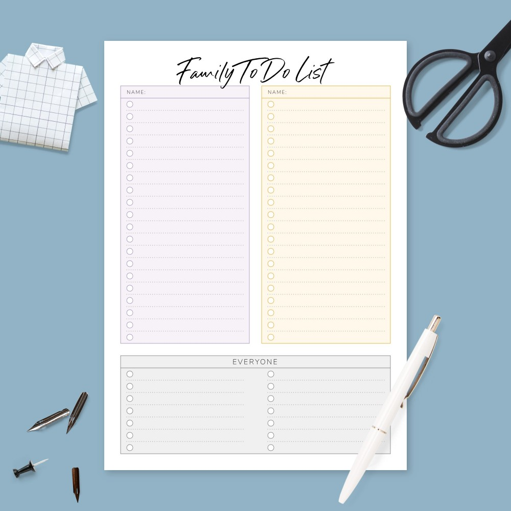 Download Printable Family Life Household To Do Template