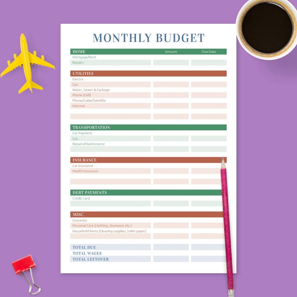 Budget Planner Templates Download Printable Pdf
