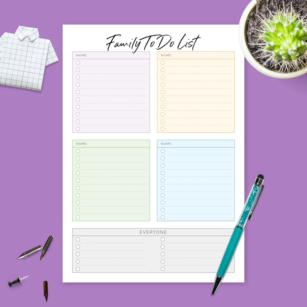 Download Printable Family Schedule & To Do Checklist Template