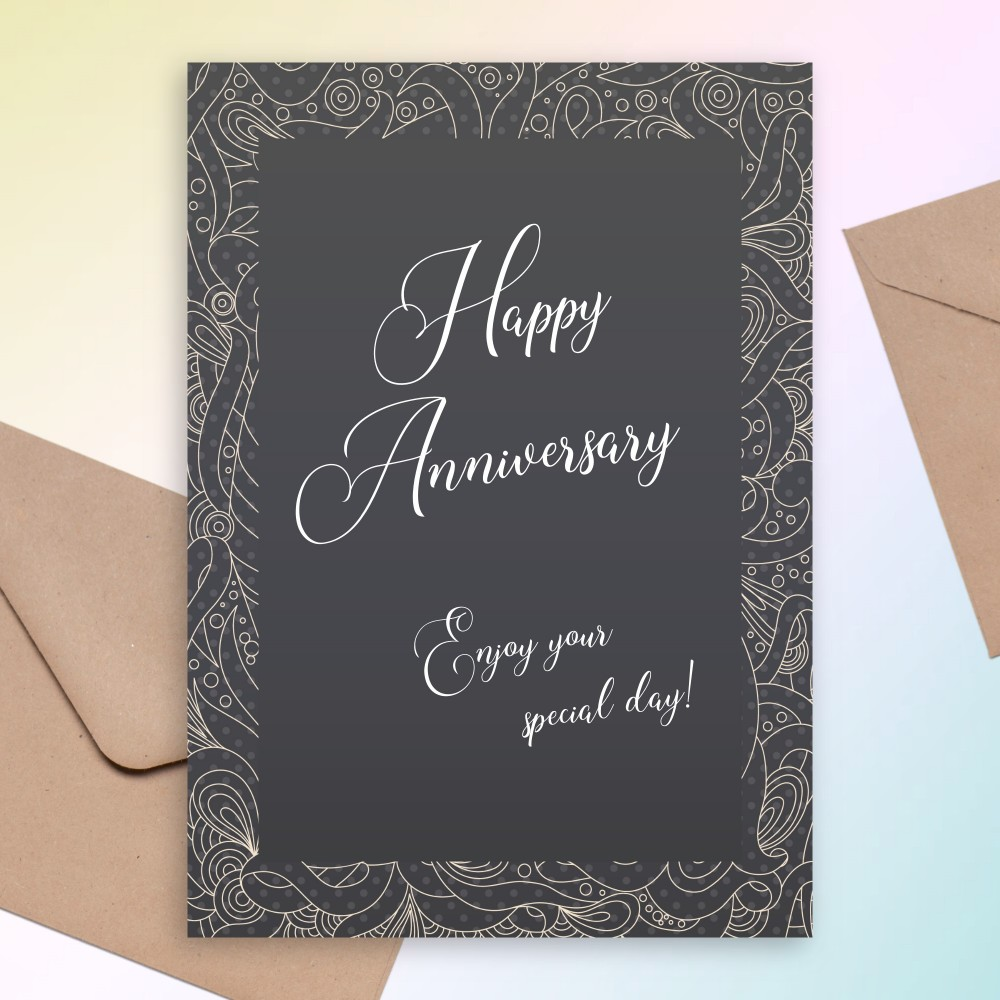 Customize and Download Fancy Pattern Black Anniversary Card