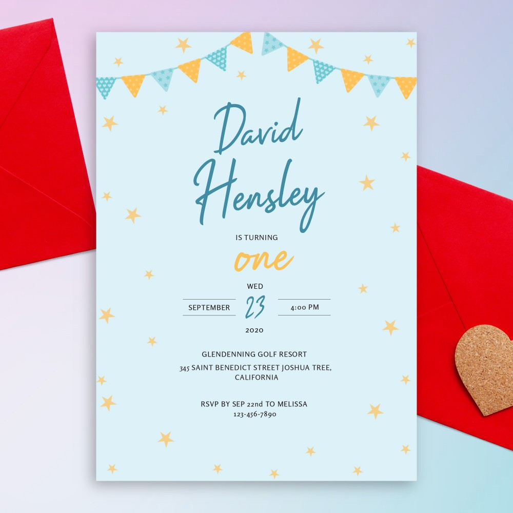 Customize and Download Flag Garland and Stars Blue Baby 1st Birthday Invitation