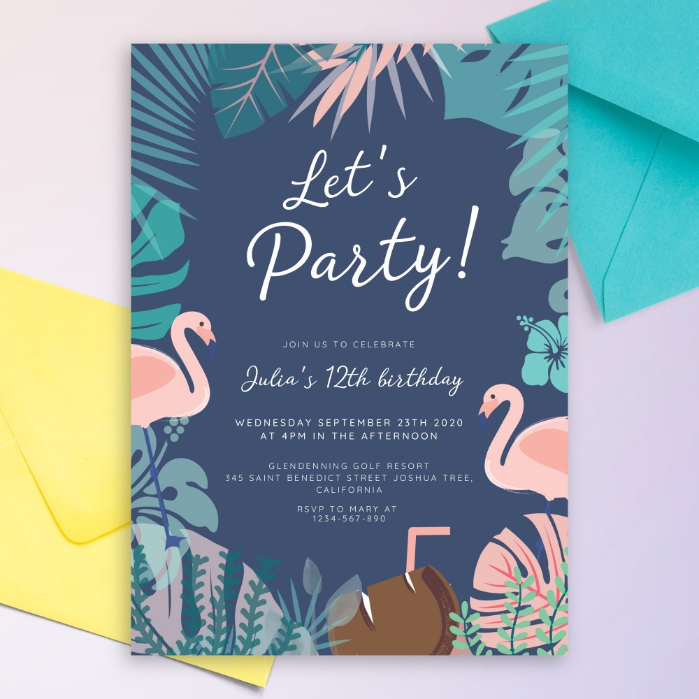 Customize and Download Flamingo Tropic Blue Party Invitation