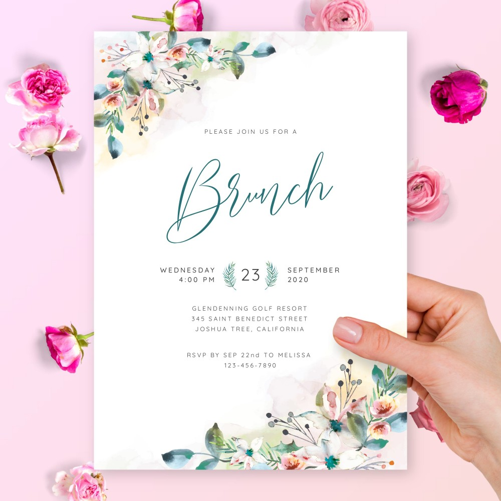 Customize and Download Floral Aquarelle Brunch Invitation