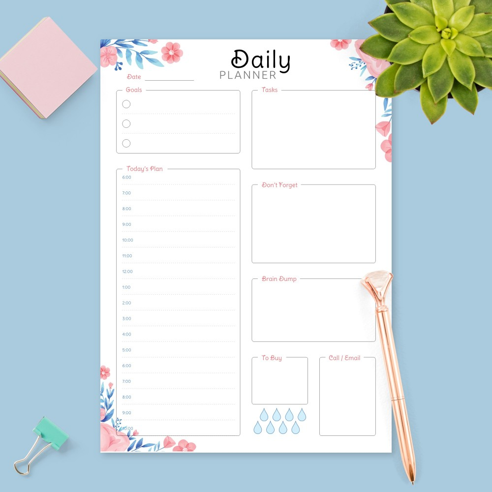 Download Printable Floral Daily Hourly Agenda Template