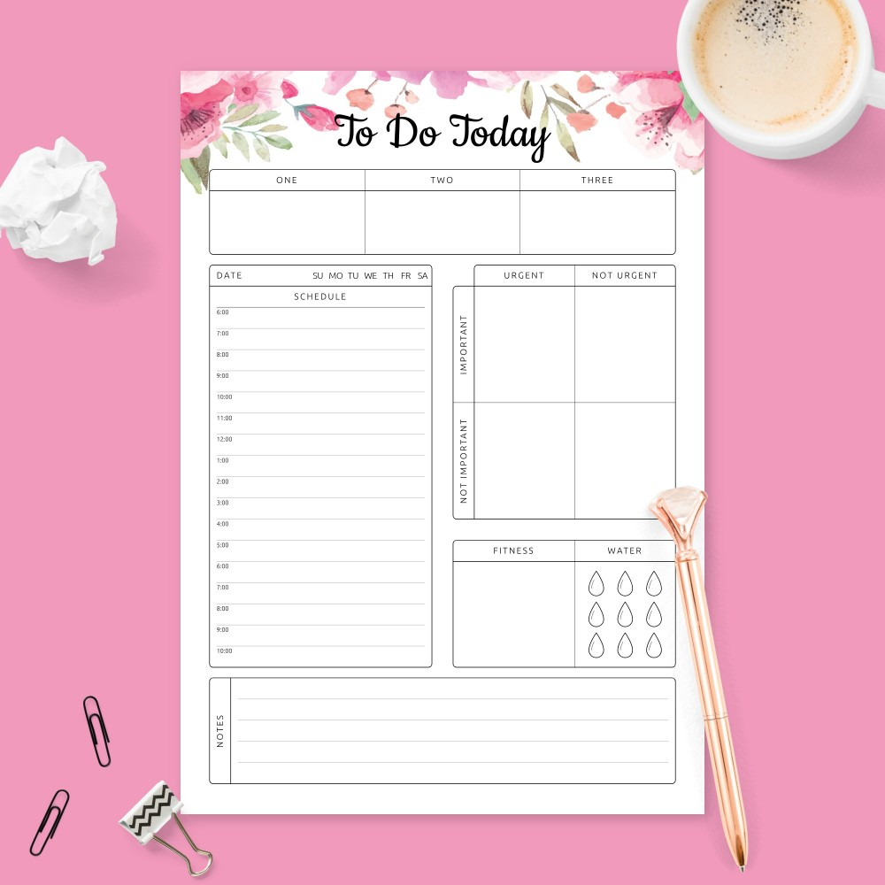 Download Printable Floral Daily Hourly Schedule Planner Template