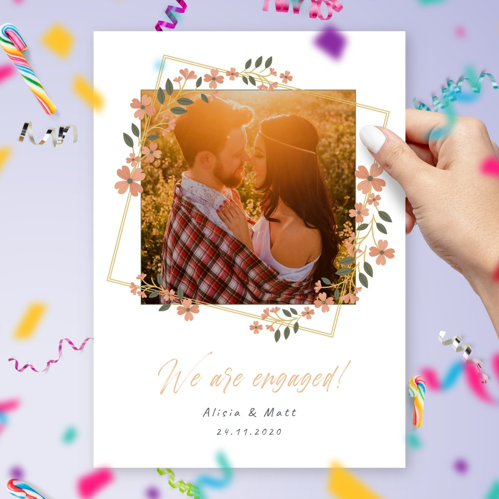 Customize and Download Floral Frame Photo Engagement Announcement Card