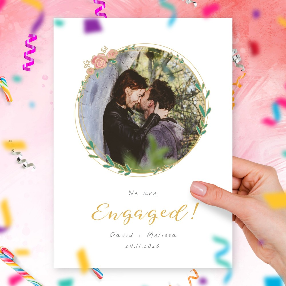 Customize and Download Floral Wreath Photo Engagement Announcement Card