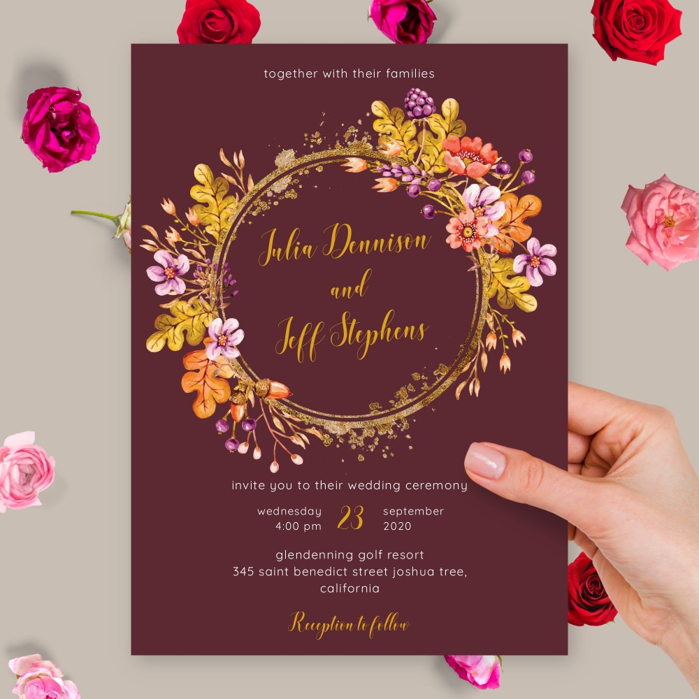 Customize and Download Flower Wreath Burgundy Fall Wedding Invitation
