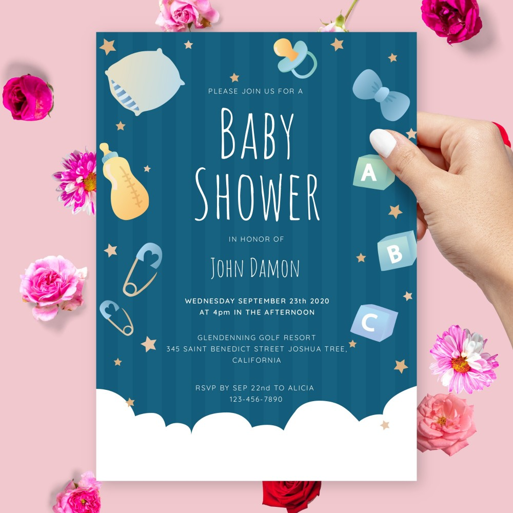 Customize and Download Fluffy Cloud Blue Baby Shower Invitation