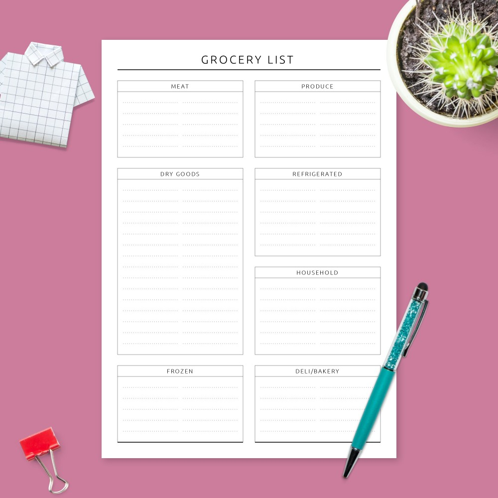 Download Printable Formal Grocery List Template