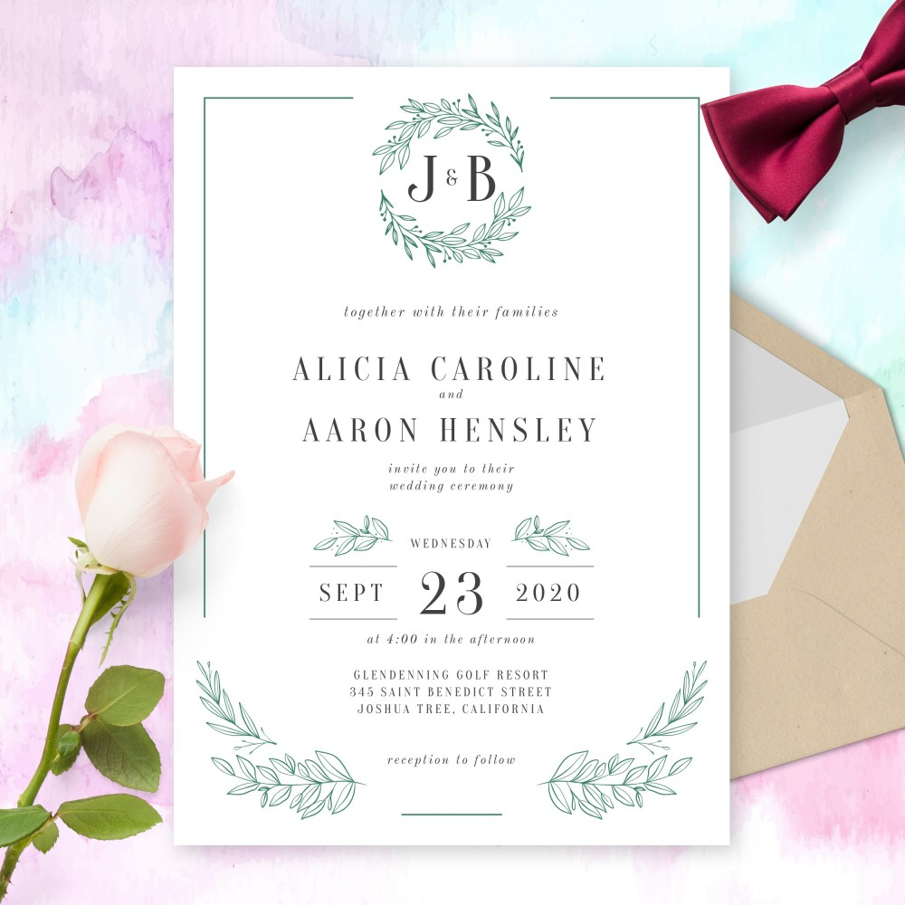 Customize and Download Formal Leaves And Borders Wedding Invitation