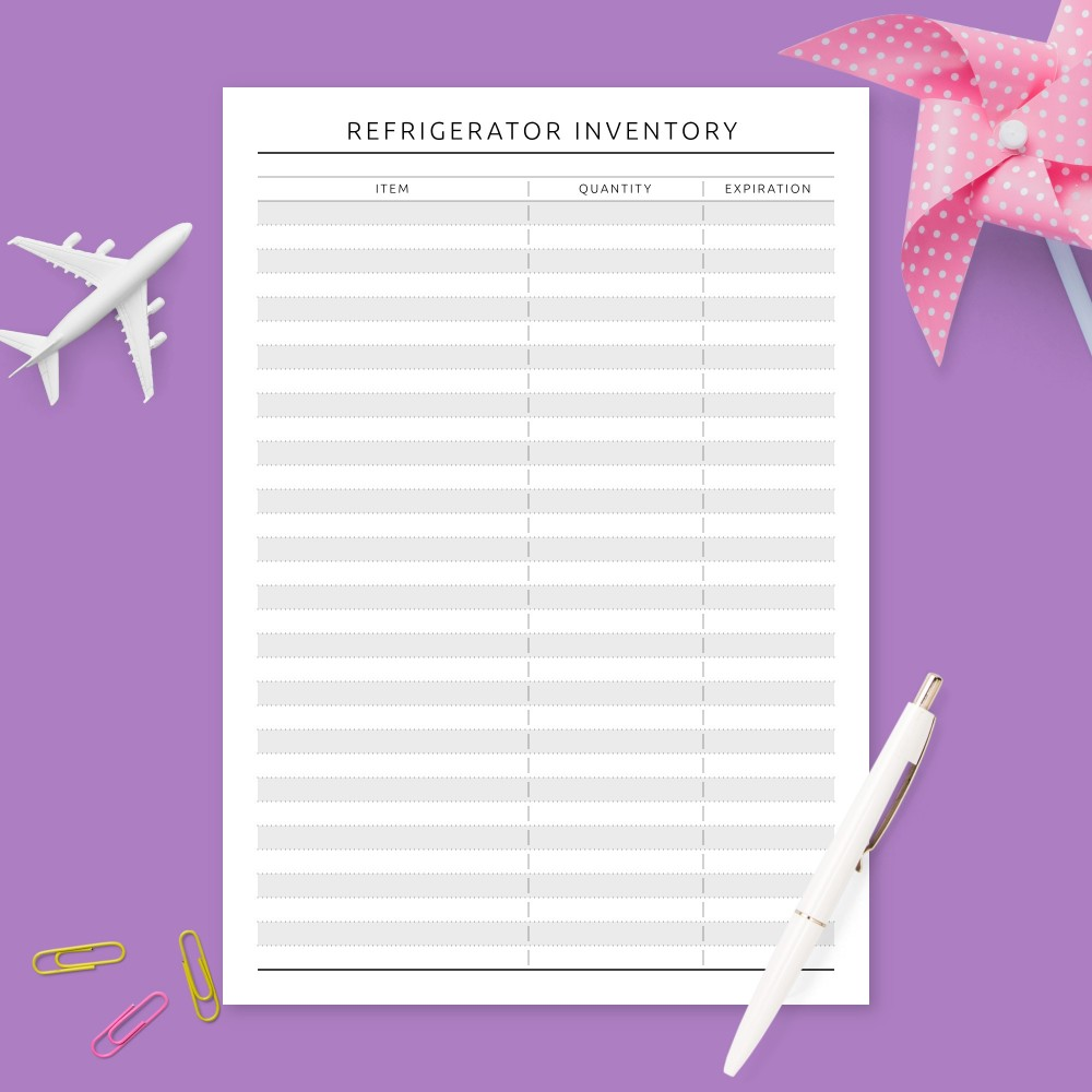 Download Printable Formal Refrigerator Inventory Template