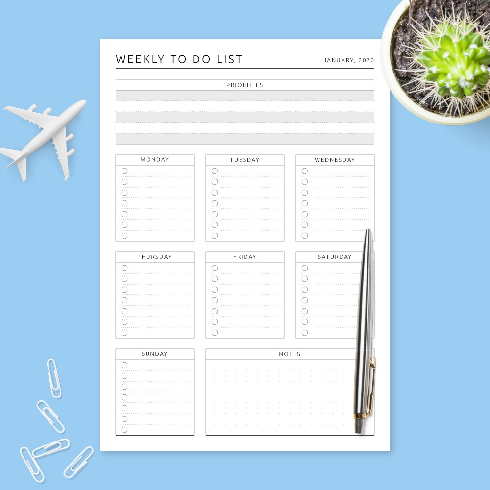 Download Printable Formal Weekly To Do List Template
