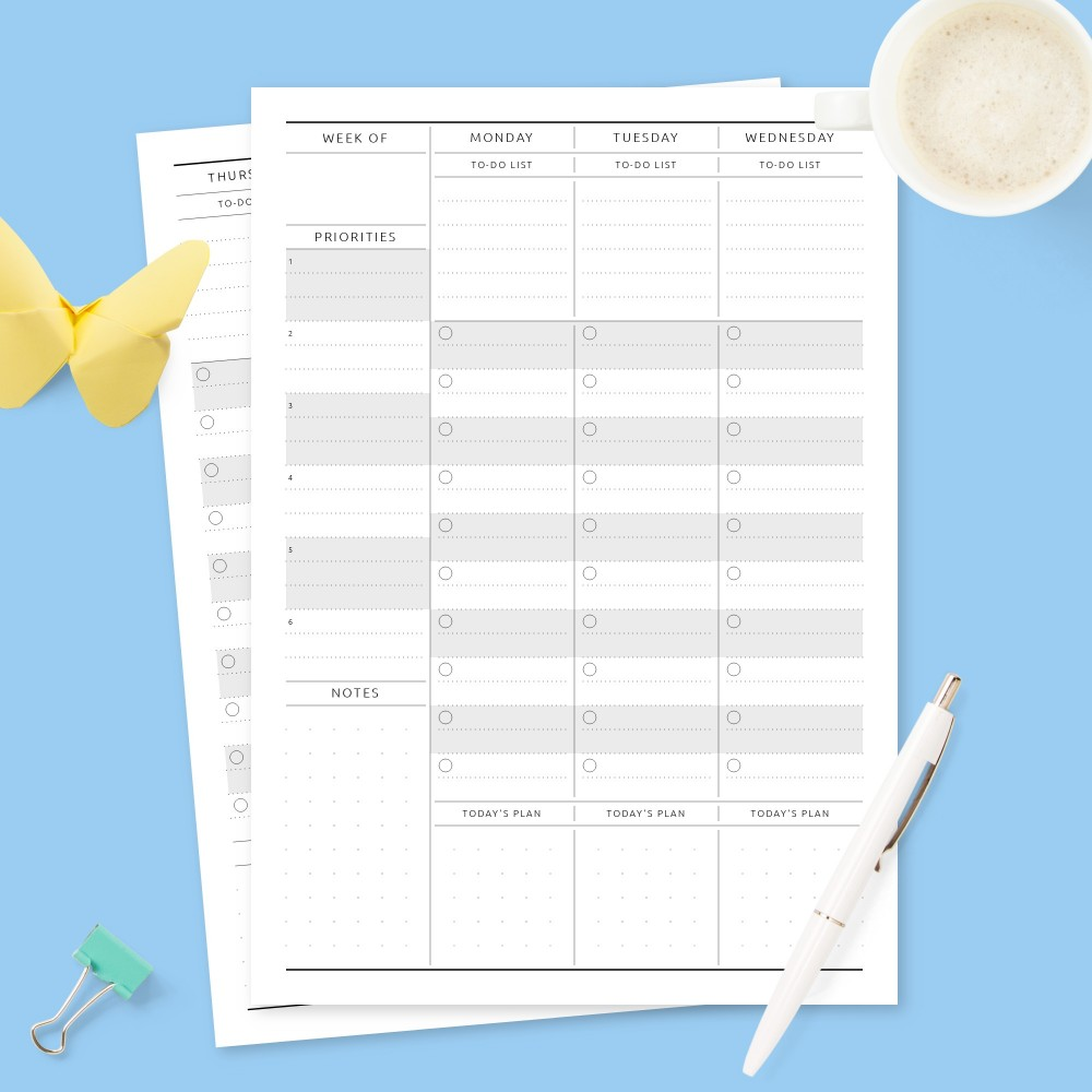 Download Printable Formal Weekly To-Do & Priorities Template