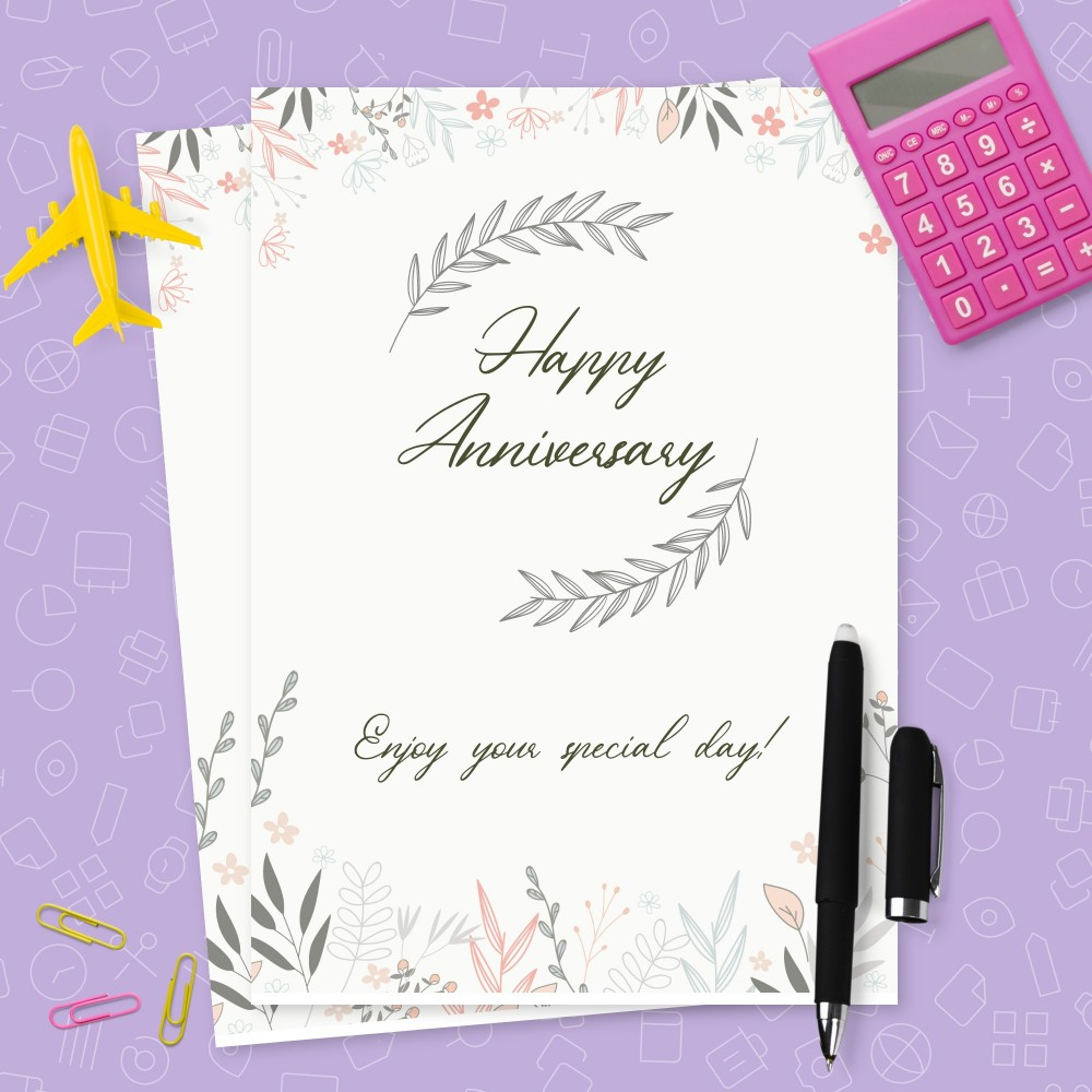 Customize and Download Gentle Botanical Anniversary Card
