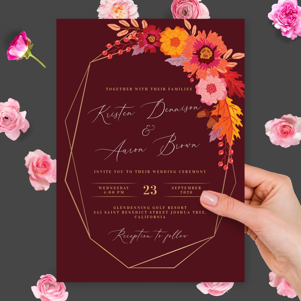 Customize and Download Geometric Floral Fall Wedding Invitation