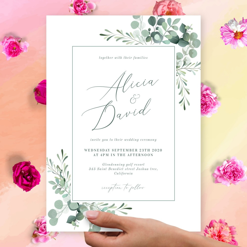 Customize and Download Geometric Soft Greenery Wedding Invitation