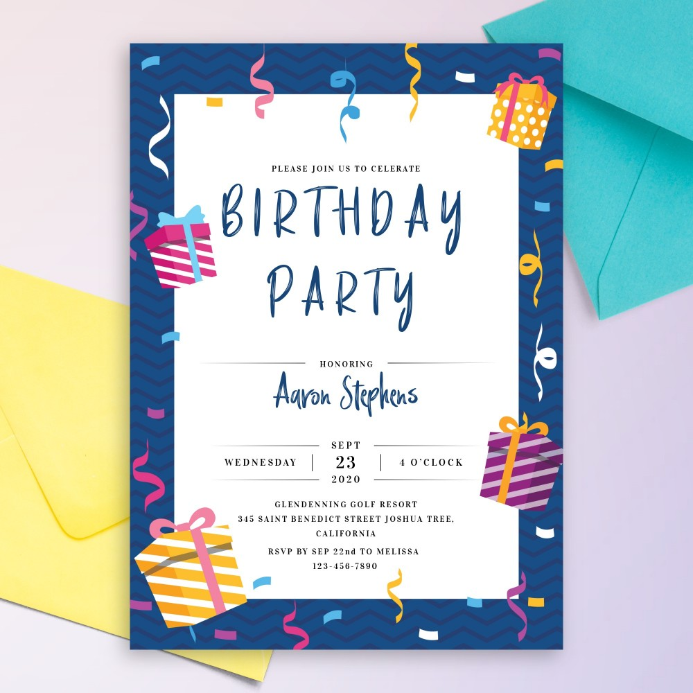 Customize and Download Gift Boxes Serpantine Birthday Invitation