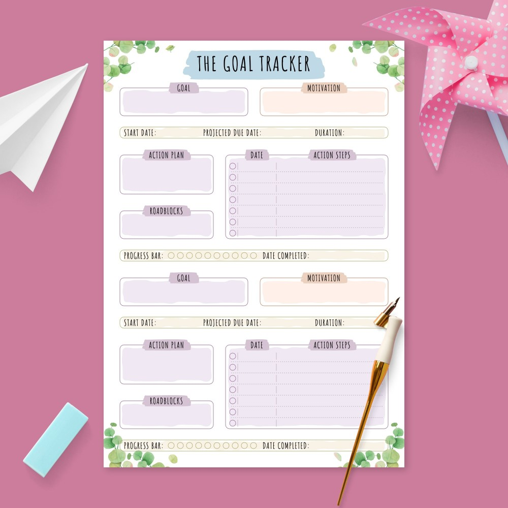 Download Printable Goal Planner with Action Steps - Botanical Design Template