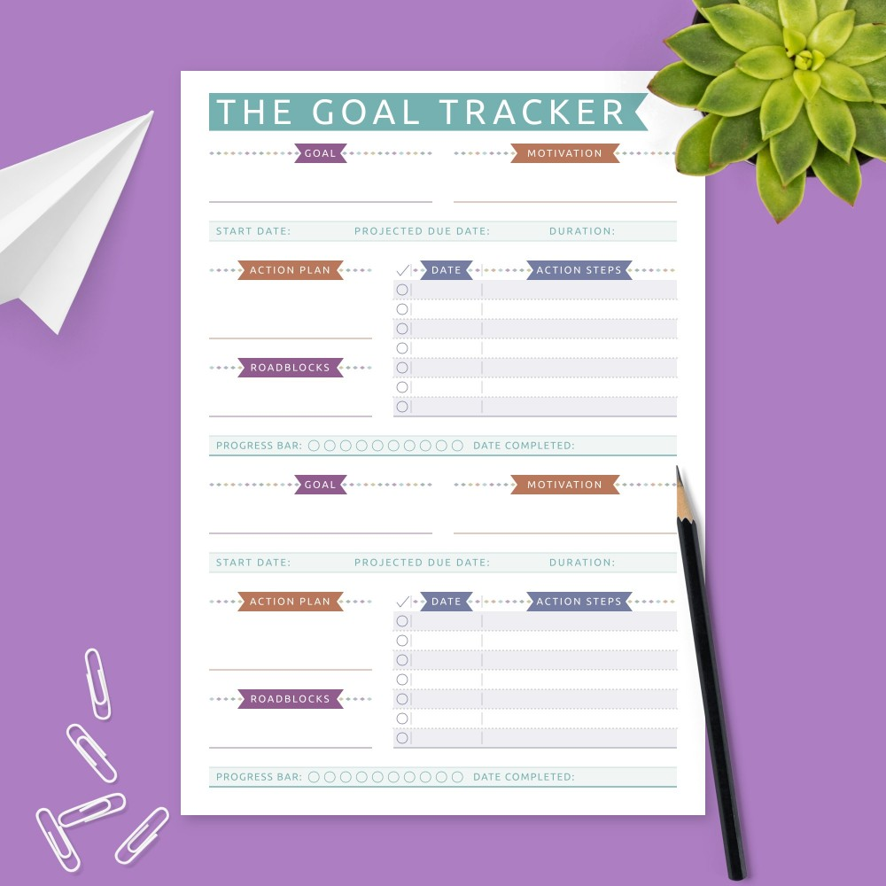 Download Printable Goal Planner with Action Steps - Colored Design Template
