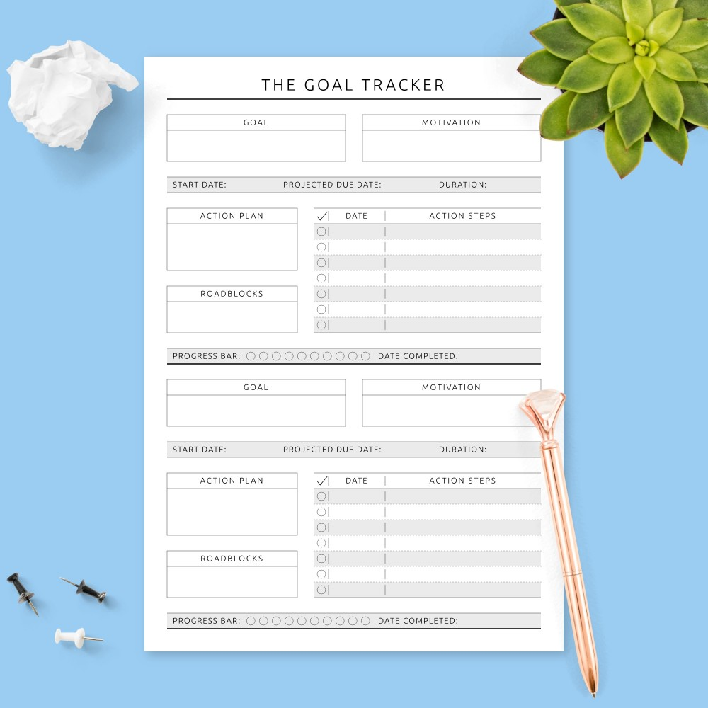 Download Printable Goal Planner with Action Steps - Formal Design Template