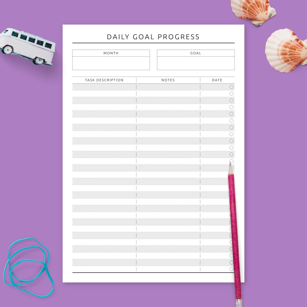 Download Printable Goal Progress Tracker Template