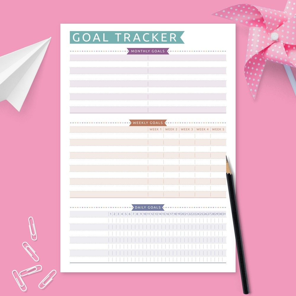 Download Printable Goal Tracking Worksheet - Colored Design Template