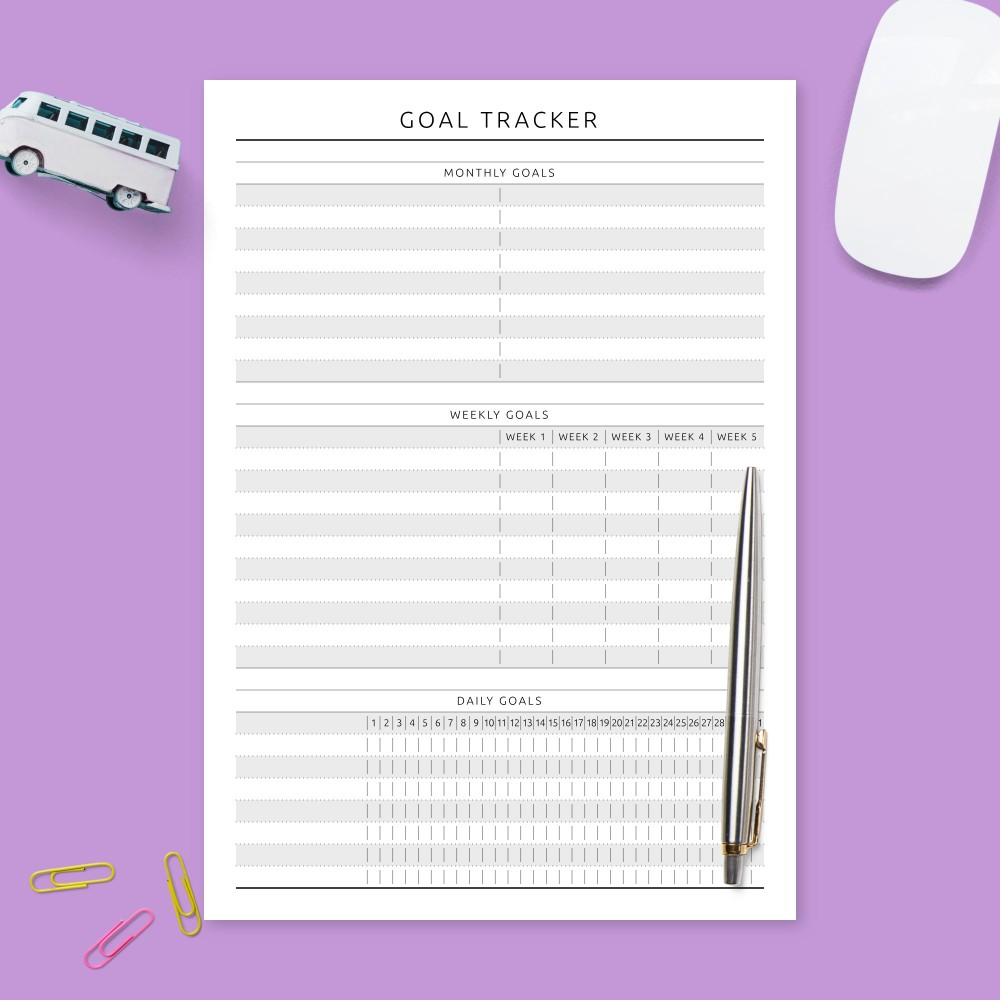 Download Printable Goal Tracking Worksheet - Formal Design Template