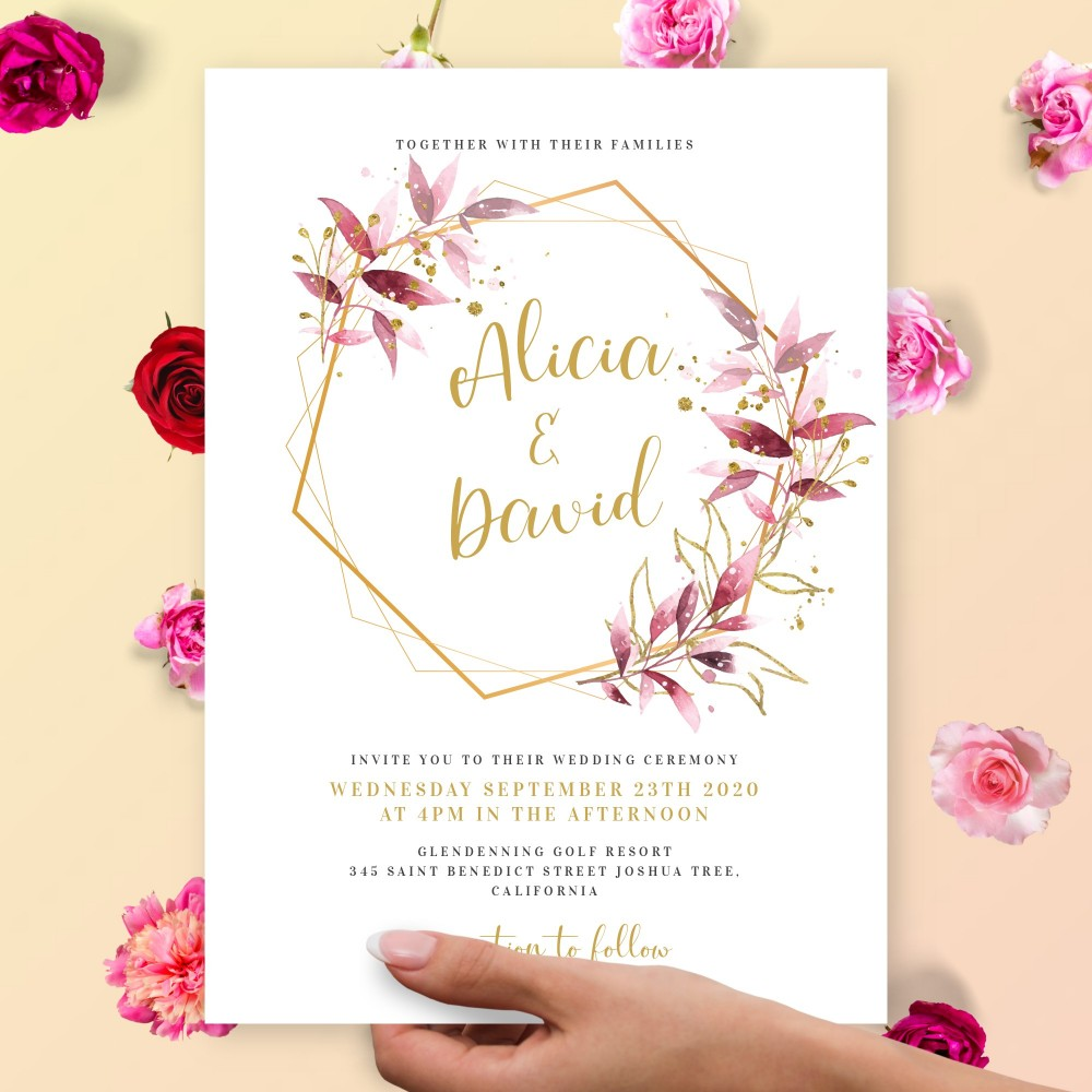 Customize and Download Gold Geometric Floral Wedding Invitation