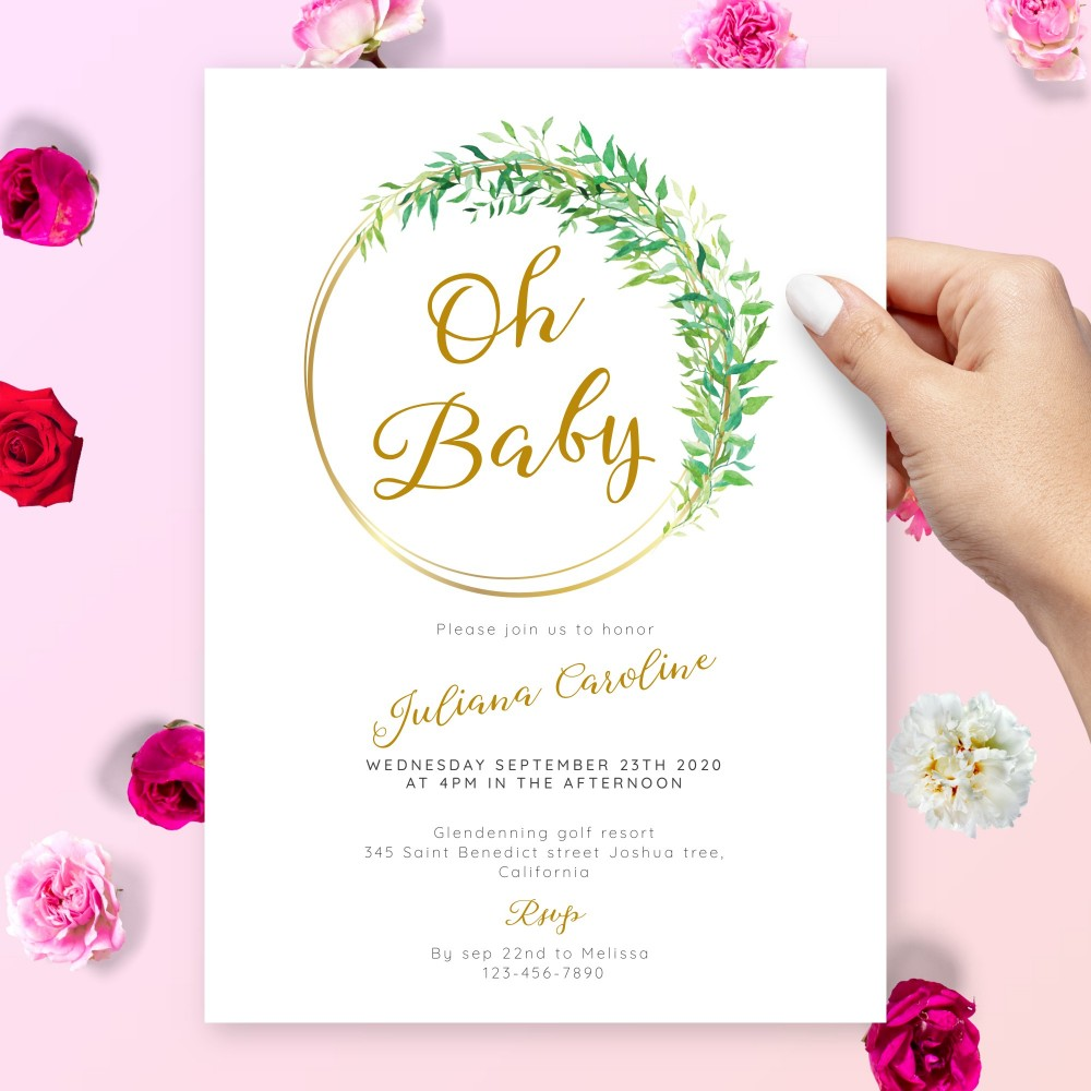 Customize and Download Gold Greenery Baby Shower Invitation