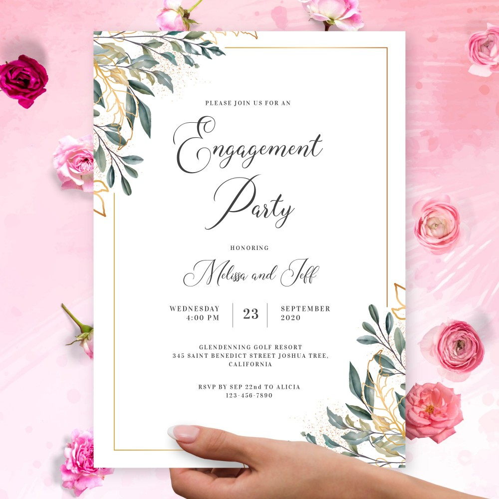 Customize and Download Gold Greenery Elegant Engagement Party Invitation