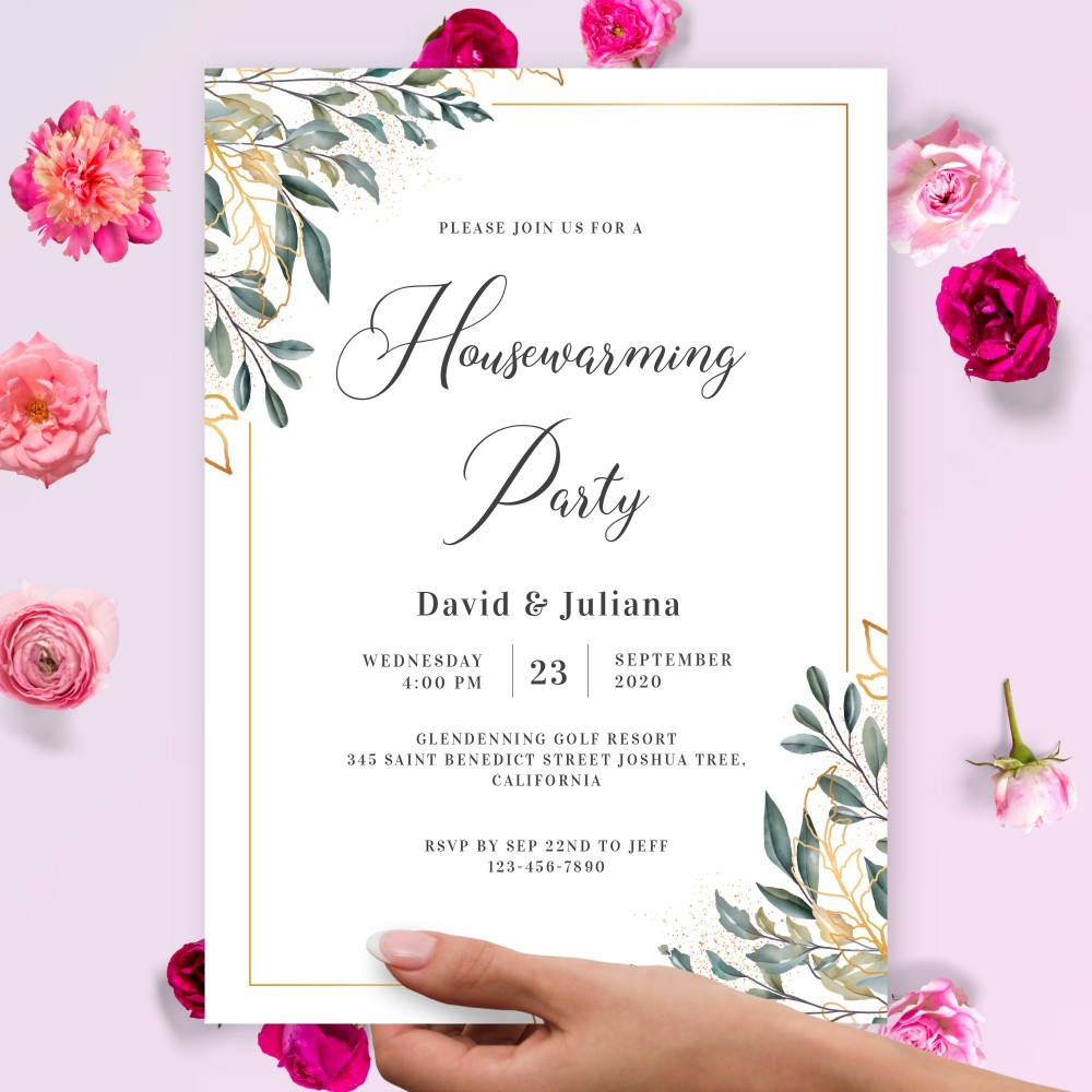 Customize and Download Gold Greenery Housewarming Invitation