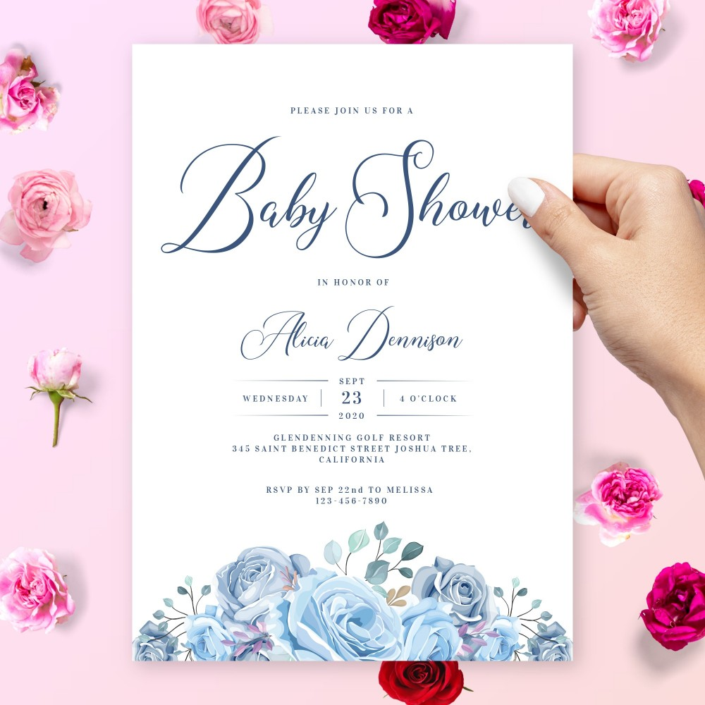 Customize and Download Graceful Blue Floral Bouquet Baby Shower Invitation