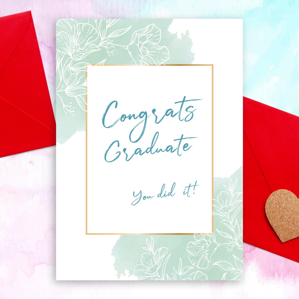 Customize and Download Graceful Blue Floral Graduation Card