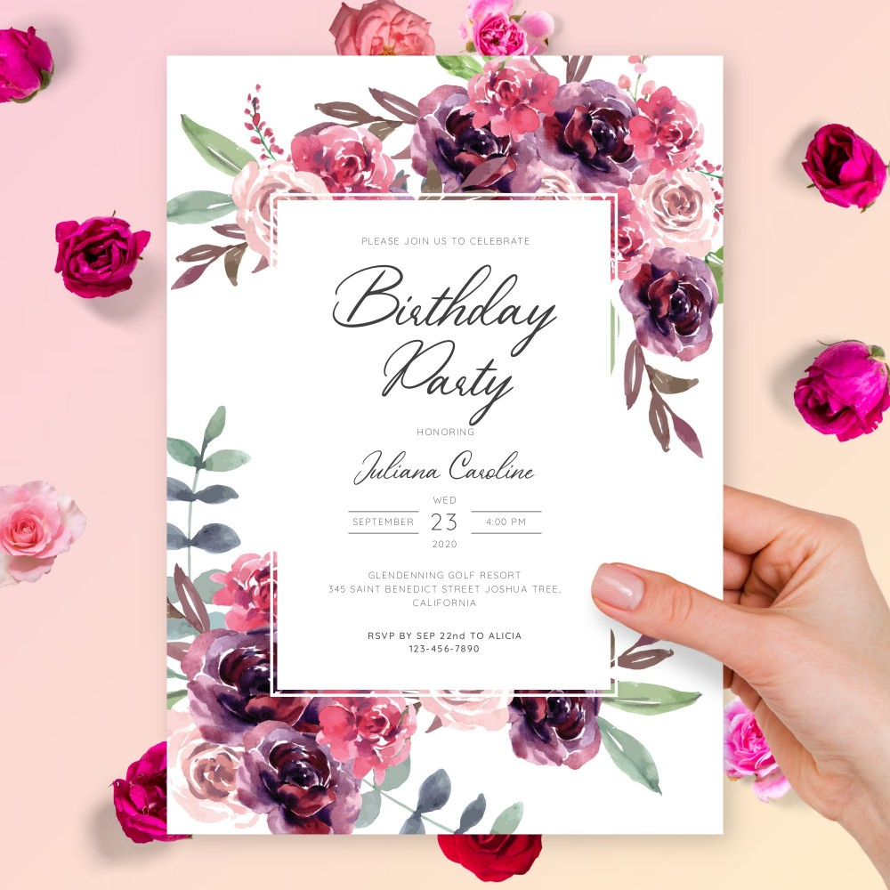 Customize and Download Graceful Floral Birthday Invitation