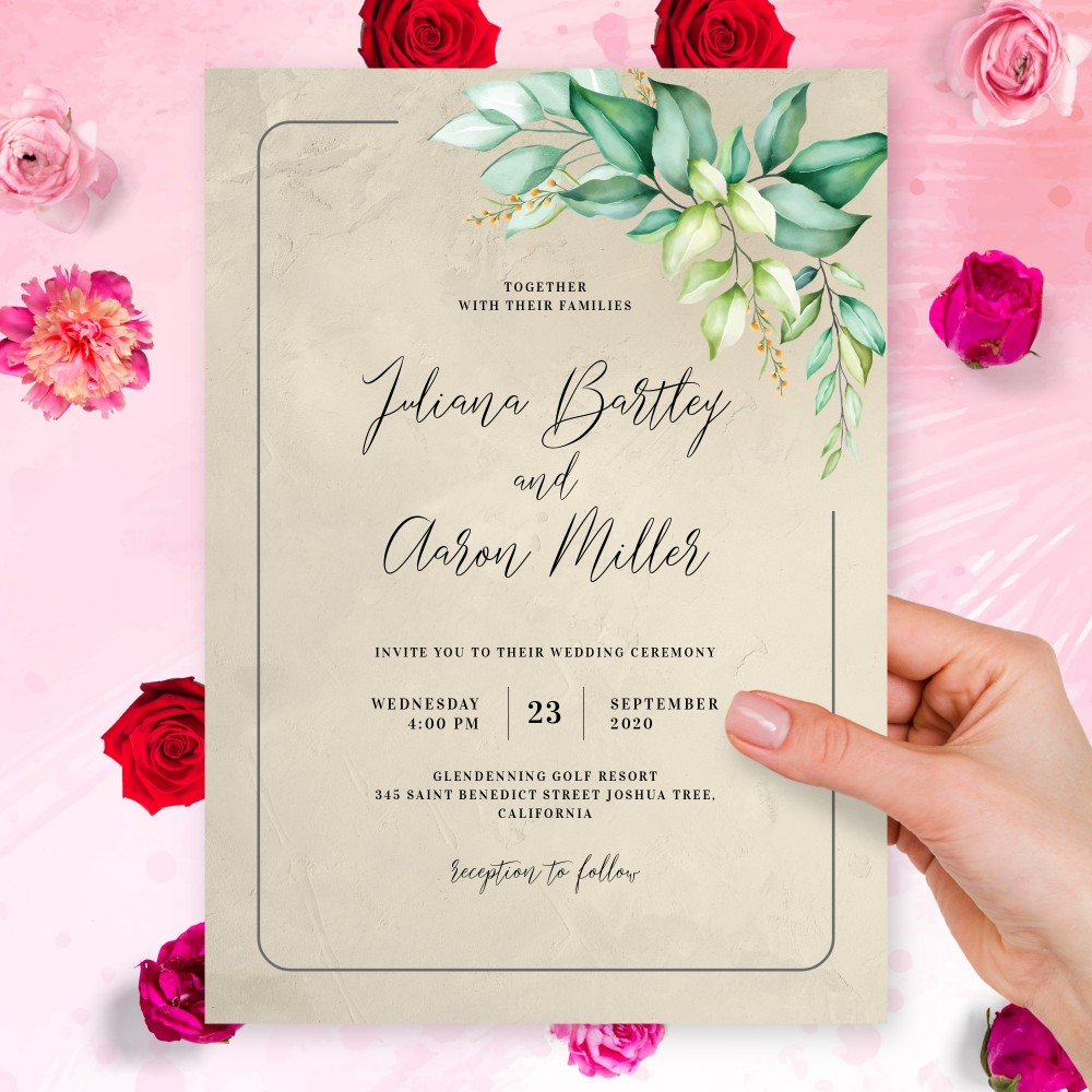 Customize and Download Graceful Greenery Boho Wedding Invitation