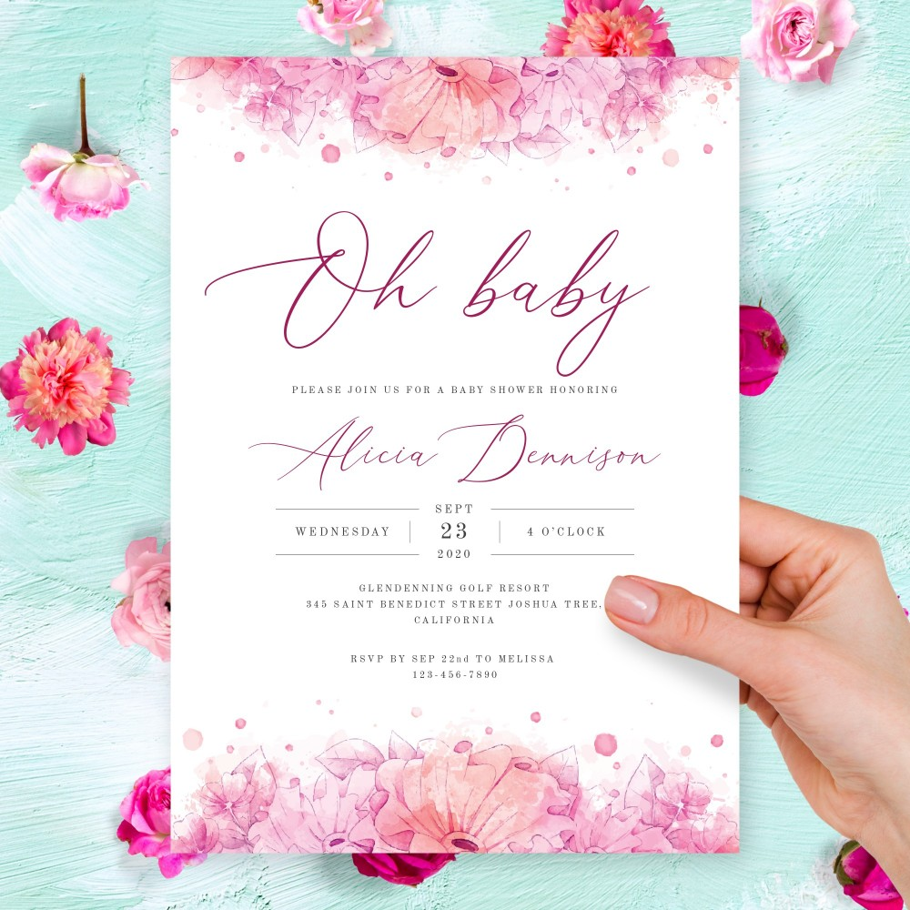 Customize and Download Graceful Pink Floral Baby Shower Invitation