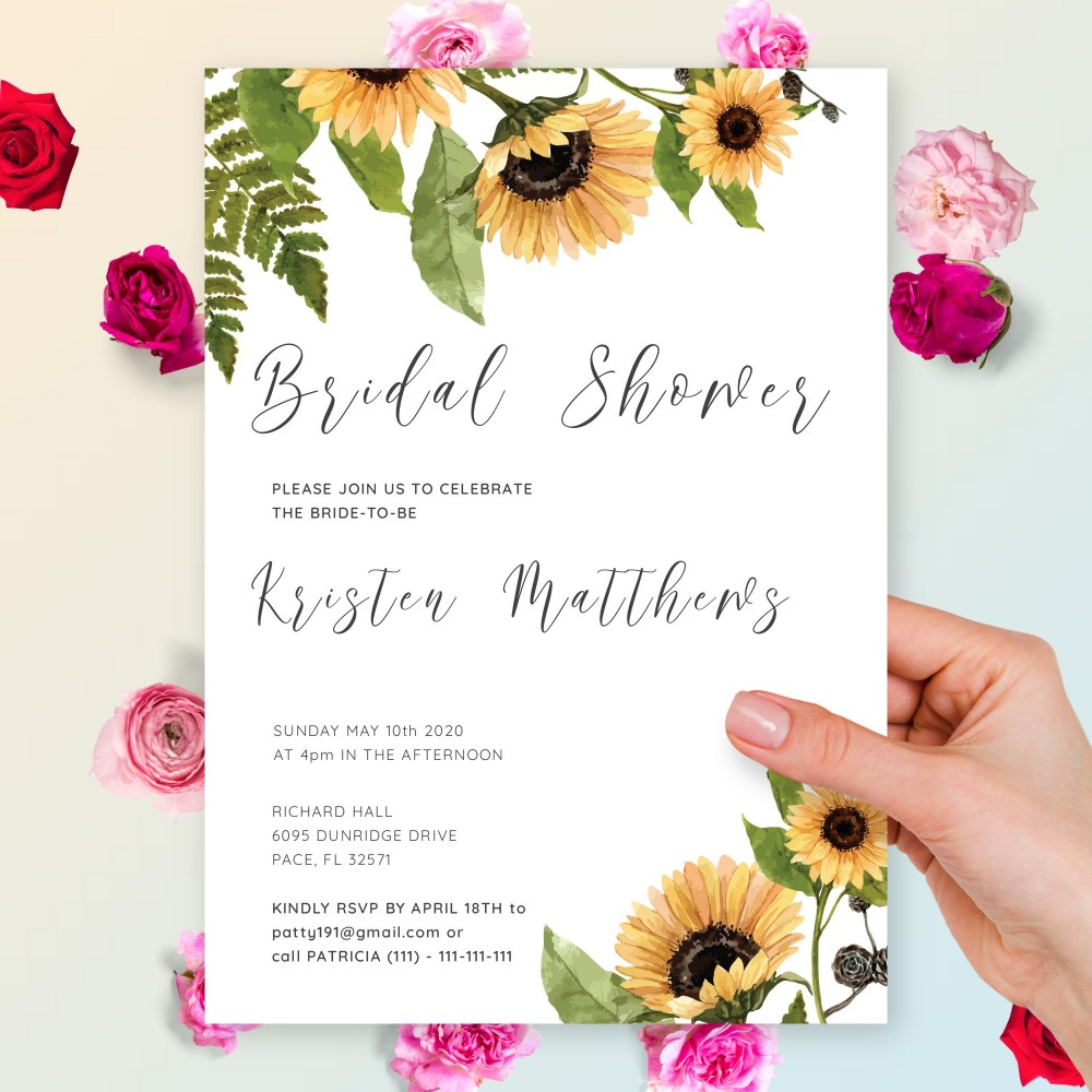Customize and Download Graceful Sunflower Bridal Shower Invitation