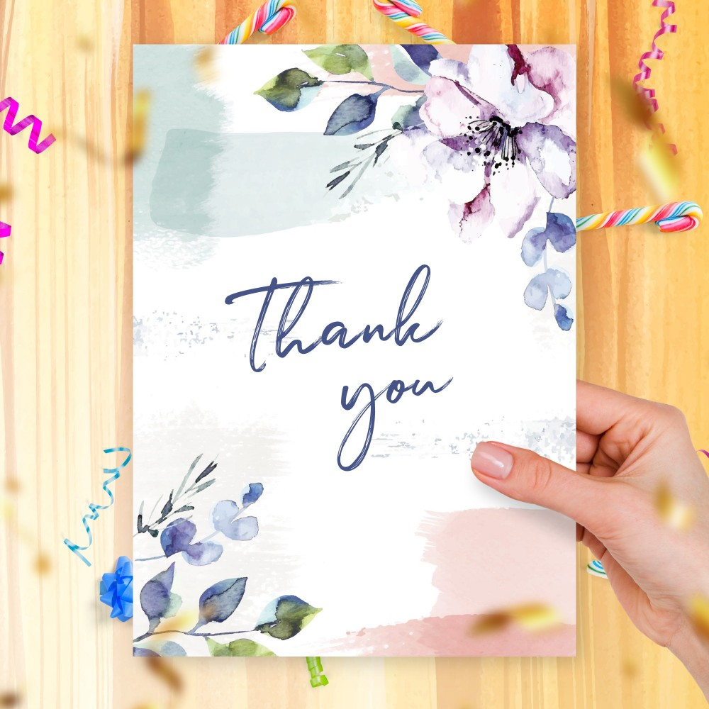 Customize and Download Graceful Watercolor Floral Thank You Card