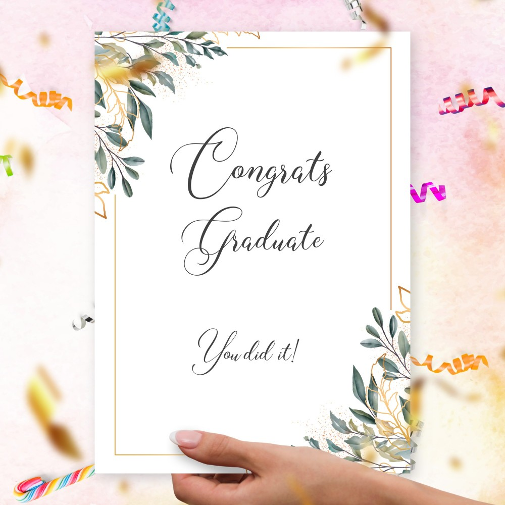 Customize and Download Green and Gold Botanical Graduation Card