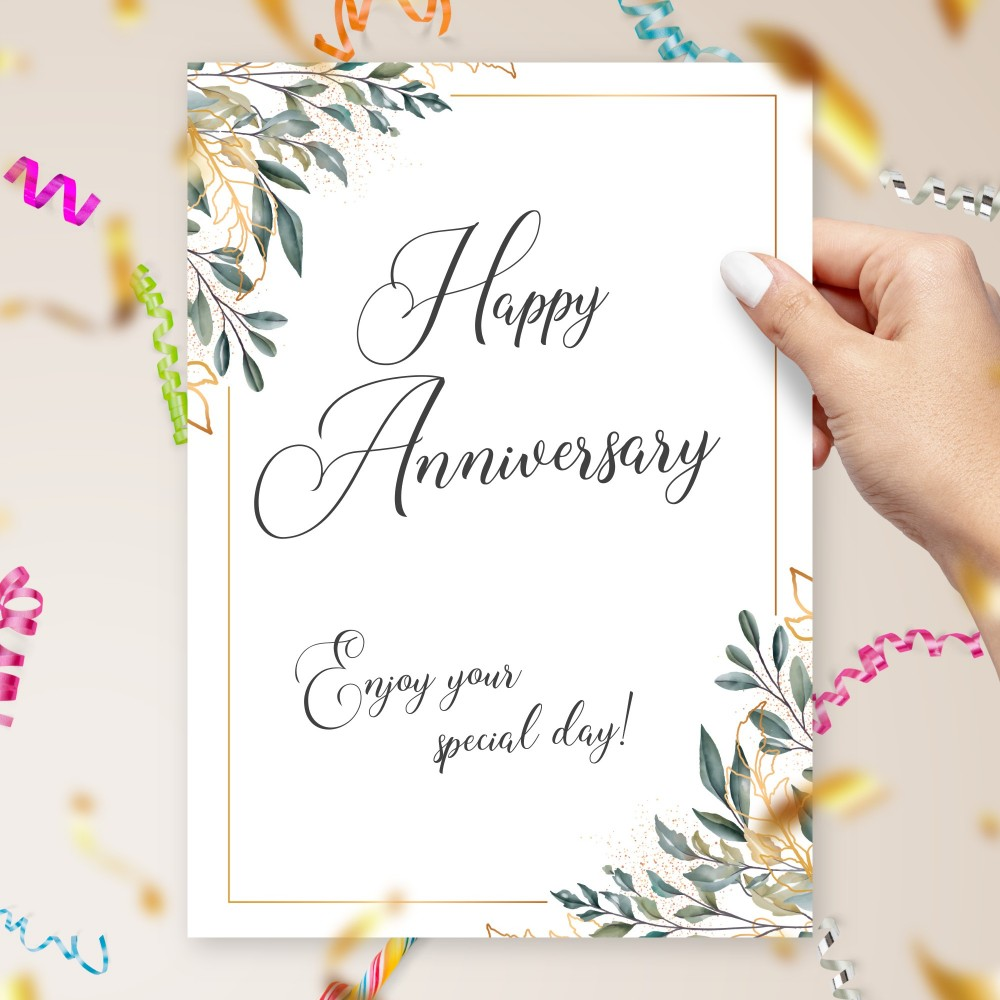 Customize and Download Green and Gold Calligraphy Anniversary Card