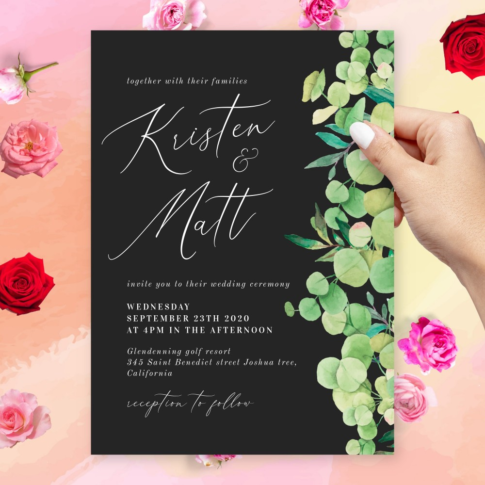 Customize and Download Green Eucalyptus Black Background Wedding Invitation