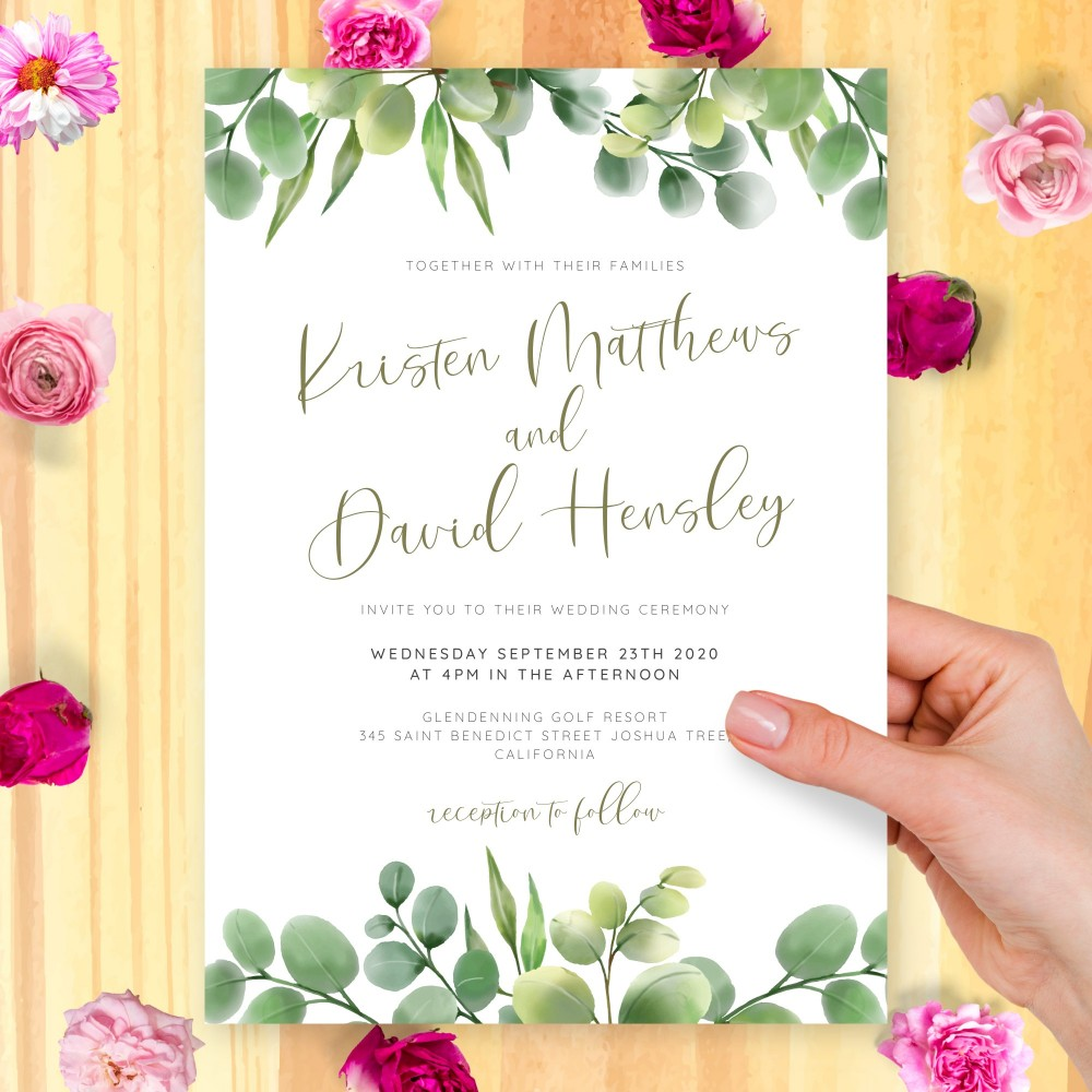 Customize and Download Green Eucalyptus Wedding Invitation