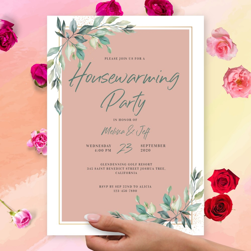 Customize and Download Greenery Blush Housewarming Invitation