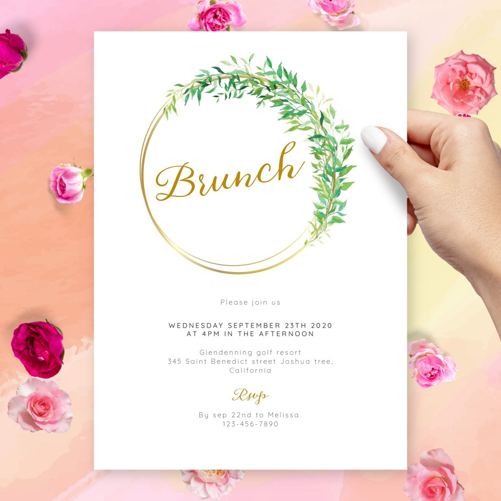 Customize and Download Greenery Gold Brunch Invitation