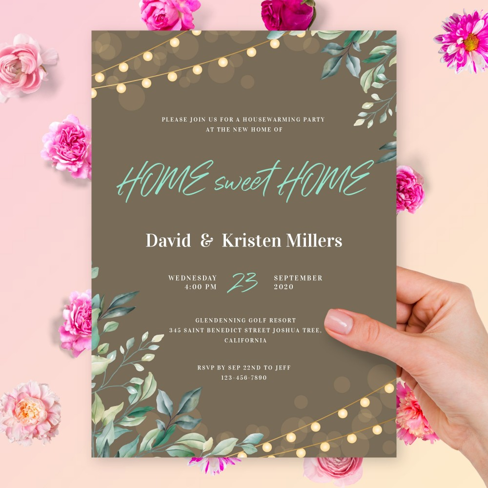 Customize and Download Greenery Lights Housewarming Invitation